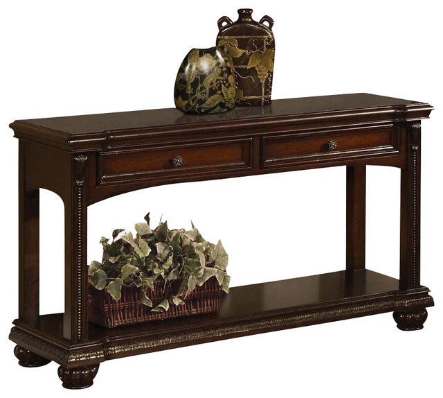 Transitional cherry 2 drawer accent sofa console table w for 6 furniture legs canada