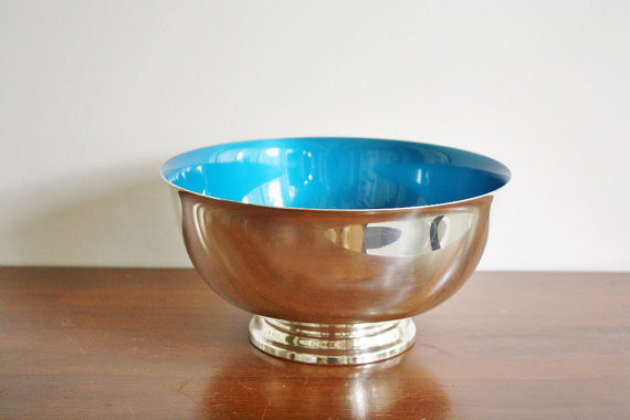 Large Vintage Silver Plated Paul Revere Footed Bowl by High Street Market contemporary-home-decor