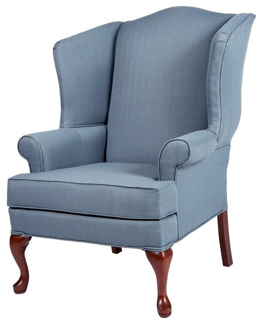 Erin blue wing back chair traditional living room chairs by