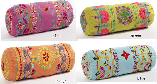Decorative Pillow Rolls : Embroidery Neck Roll Pillows