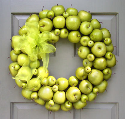 Green Apple Wreath contemporary-outdoor-holiday-decorations