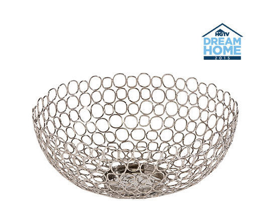 Ethan Allen - Open Weave Bowl - Brass wire - cut, bent into rings, connected, shaped, and dressed in a polished nickel finish - makes up this sophisticated, sculptural bowl. Filled or empty, this airy, elegant piece is a stunner.