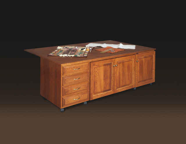 Traditional Cherry Sewing Cabinet - Traditional ...