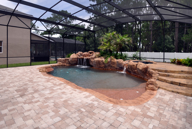 Complete job pool spa and deck for Pool design jobs