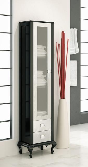 Macral Venezia 16 and 1/8 inches. linen cabinet. Black-silver - Contemporary - Bathroom Cabinets ...