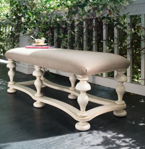 Paula Deen Bed End Bench in Linen traditional-upholstered-benches