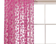 Sheer Flocked Dot Window Panel - Pink eclectic curtains