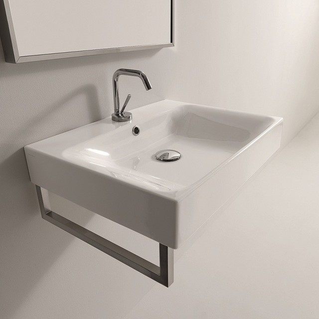 """WS Bath Collections Cento 3531 Wall Hung or Counter Top Ceramic Sink 23.6"""" x 17. contemporary-bathroom-sinks"""