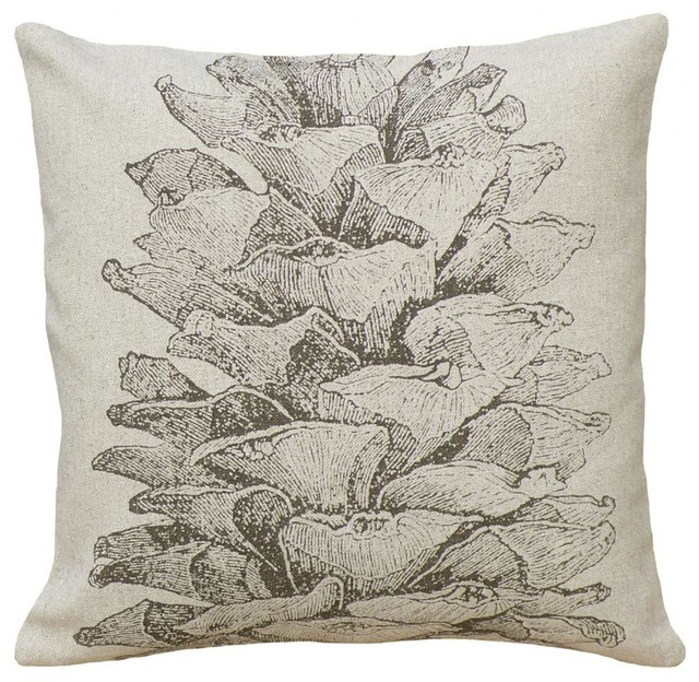 Pinecone, Hand-printed Linen Pillow rustic-decorative-pillows