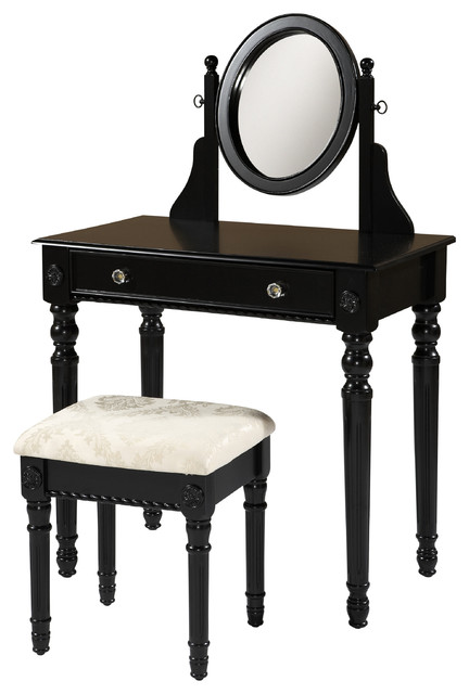 Linon Lorraine Black Wood Vanity Set Contemporary Bedroom Makeup Vanities By