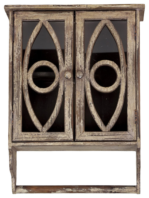 Vintage Style Aged Finish Wood Cabinet Storage Home Accent Decor ...