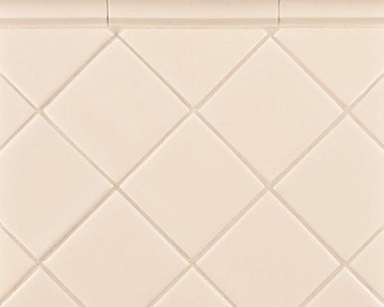 """Ceramic - ANN SACKS Capriccio 4"""" x 4"""" ceramic field and 2-1/4"""" x 6"""" corniche molding in antique white gloss"""