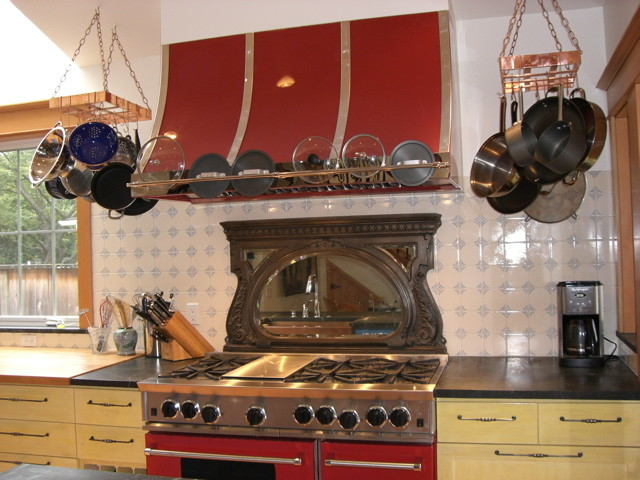 Kitchen spaces  - copper pot rack pot-racks