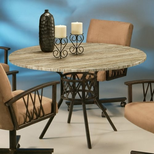 Pastel Ravenwood Poly Travertine Top Dining Table contemporary-dining-tables