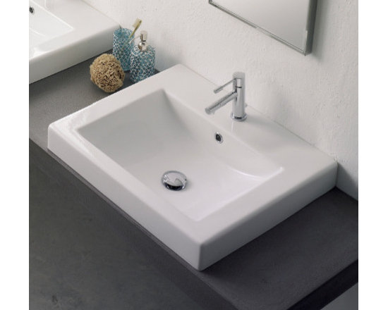 "Scarabeo - Sleek Built-In White Ceramic Contemporary Sink - Sleek square built-in contemporary style bathroom sink made of high quality white ceramic. Stylish drop-in sink includes overflow and is available with a single faucet hole (as shown), no hole, or 3 holes. Designed and manufactured in Italy by Scarabeo. Sink dimensions: 23.60"" (width), 6.30"" (height), 20.10"" (depth)"