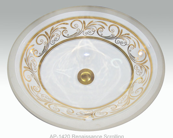 "Hand Painted Undermounts by Atlantis Porcelain - ""RENAISSANCE SCROLLING"" Shown on AP-1420 white Monaco Medium undermount 17-1/4""x14-1/4""available on burnished gold or platinum and bright gold or platinum on any of our sinks."