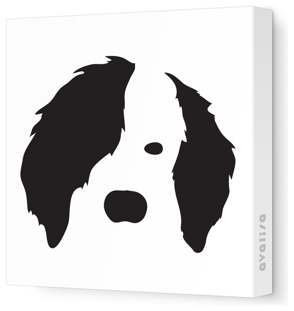 """Animal Face - Dog Stretched Wall Art, 12"""" x 12"""", Black contemporary-kids-wall-decor"""
