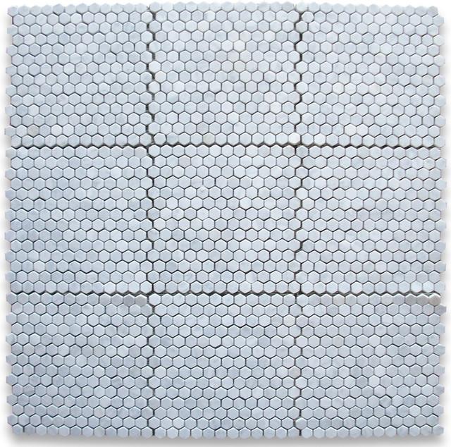 Carrara white 1 inch hexagon mosaic tile tumbled marble for 1 inch hexagon floor tiles