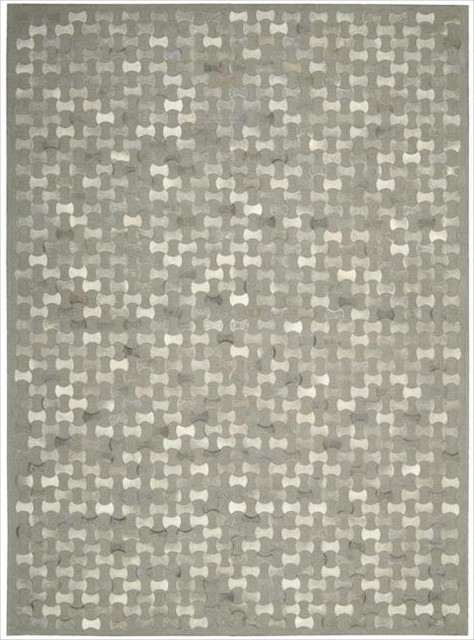 Nourison Joseph Abboud Hand-woven Chicago Silver Geometric Rug  (8' x 11') contemporary-rugs