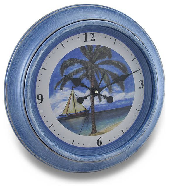 Tropical Beach Theme Wall Clock Traditional Clocks By Zeckos