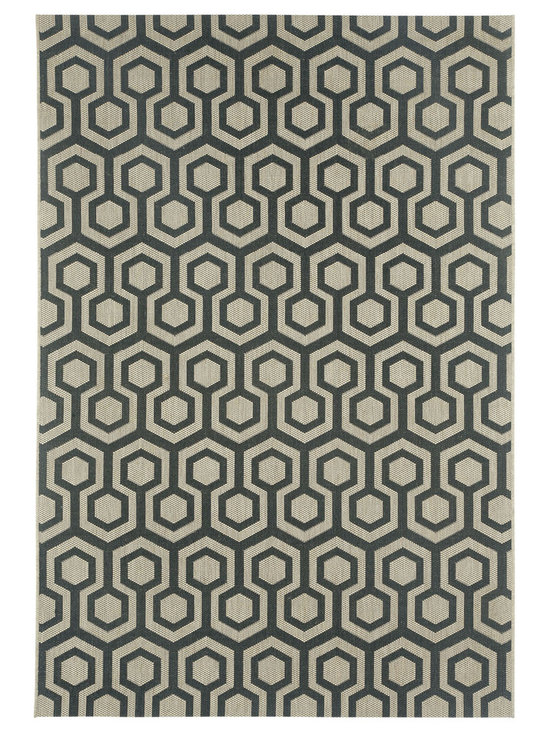 """Finesse Honeycomb rug in Noir - An esteemed """"Capel Anywhere"""" rug collection woven on precision machine looms in Europe. These versatile rugs can be used in high traffic areas indoors - like kitchens and sunrooms - or to dress up covered porches and decks outside."""