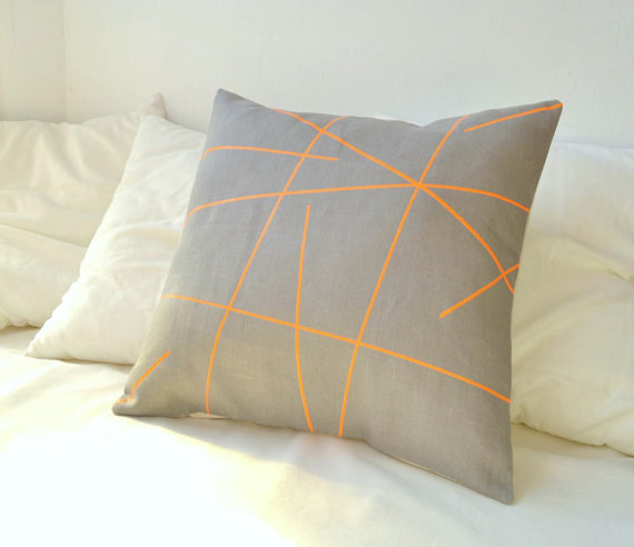 Grey Linen With Neon Orange Stripes Pillow Cover By Paleolochic - Contemporary - Decorative ...