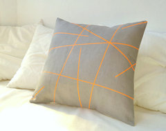 Grey Linen With Neon Orange Stripes Pillow Cover By Paleolochic contemporary pillows