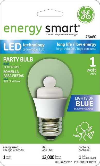 GE Energy Smart Blue Color 1W A15 LED Bulb (Blue, Clear) ceiling-lighting