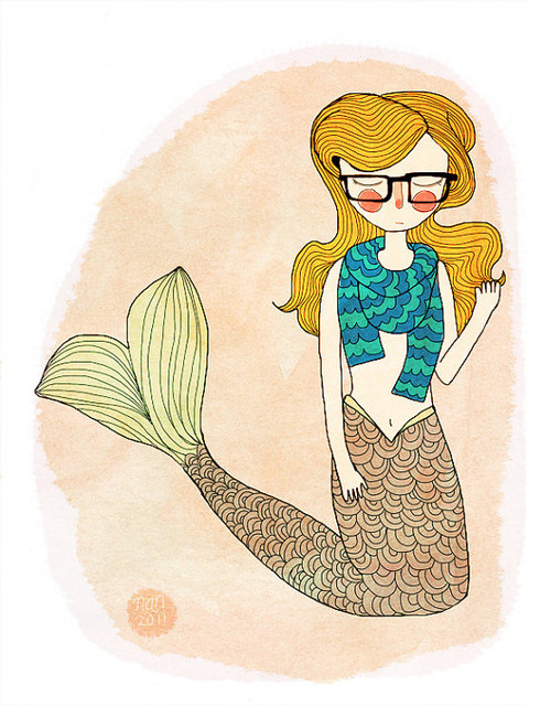 Hipster Mermaid By Nan Lawson contemporary kids decor