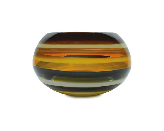 Caleb Siemon Mustard Banded Closed Bowl - Inspired by the rich hues and topography of Southern California, alternating layers of opaque and transparent colors are applied to clear glass. New colors are formed by overlaps, adding depth to the pieces. Simple shapes compliment intense colors. Hand blown and shaped in lead free crystal. Designed by Caleb Siemon. Made in California. Signed.