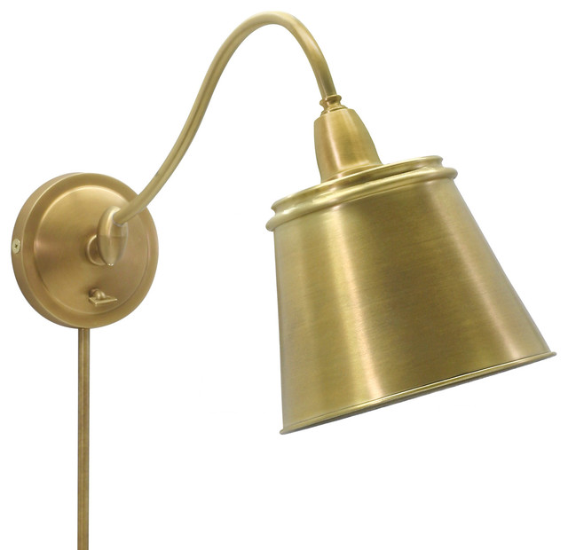 House of Troy HP725-WB-MSWB Hyde Park Weathered Brass Swing Arm Sconce contemporary-swing-arm-wall-lamps