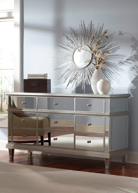 mirrored dresser by glam furniture eclectic bedroom