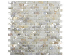 Cream Brick Pearl Shell Tile contemporary-tile