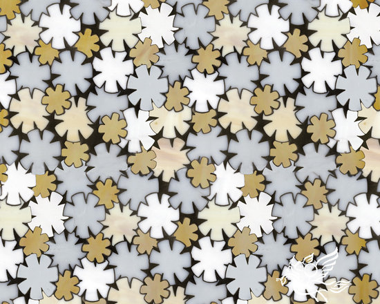 Erin Adams - Flowers - Flowers, a glass waterjet mosaic shown in Opal, Moonstone, Agate and Amber, is part of the Erin Adams Collection for New Ravenna Mosaics.