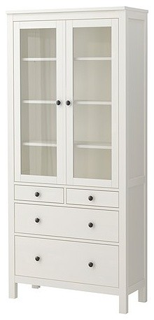 HEMNES Glass-door cabinet with 4 drawers modern bookcases cabinets and computer armoires