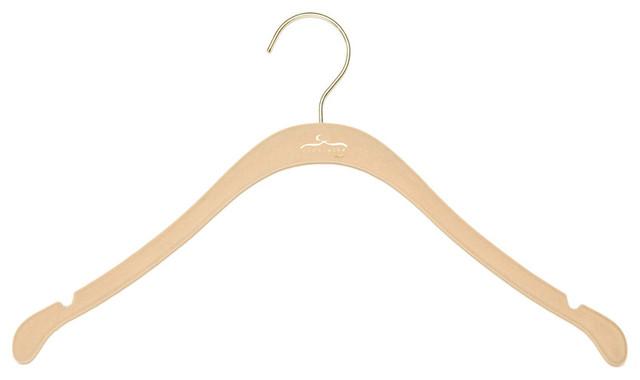 The Signature Slim Shirt Hanger, Nude w/ Brass contemporary-wall-hooks