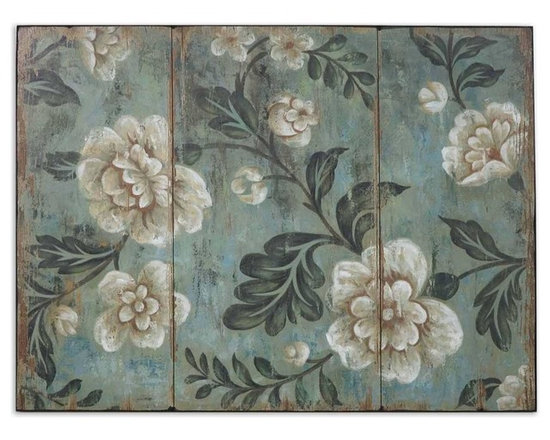 "Uttermost Peach And Aqua Floral Art - Uttermost Peach And Aqua Floral Art is frameless, on wooden backboard. Dimensions: 30"" High, 40"" Wide."