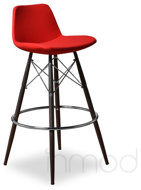 Para MDB Barstool (Set of 2), Red Wool Fabric modern-bar-stools-and-counter-stools