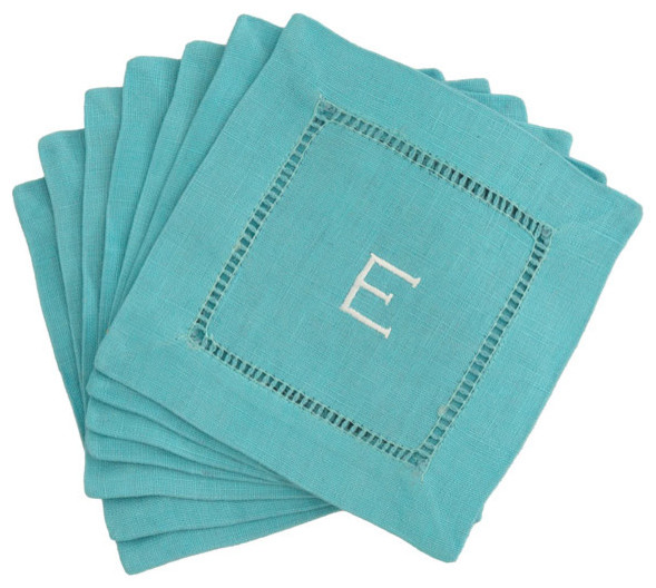 Monogrammed Block Letter Cocktail Napkins in Aqua contemporary barware