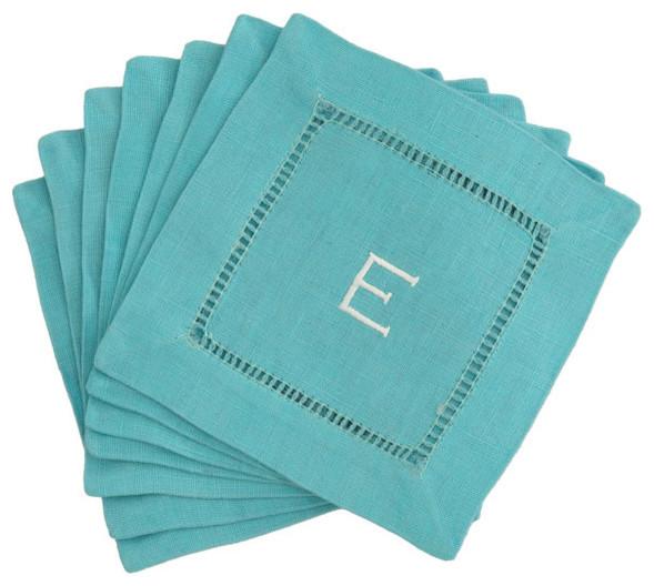 Monogrammed Block Letter Cocktail Napkins in Aqua contemporary-napkins