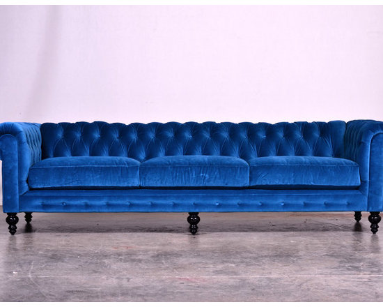 Blue Velvet Chesterfield sofa Modern and Contemporary Sofas and Sofa *Extra Long -