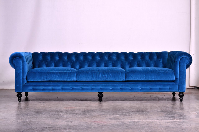 Decorating a blue couch houzz - Blue Velvet Chesterfield Sofa Modern And Contemporary Sofas And Sofa