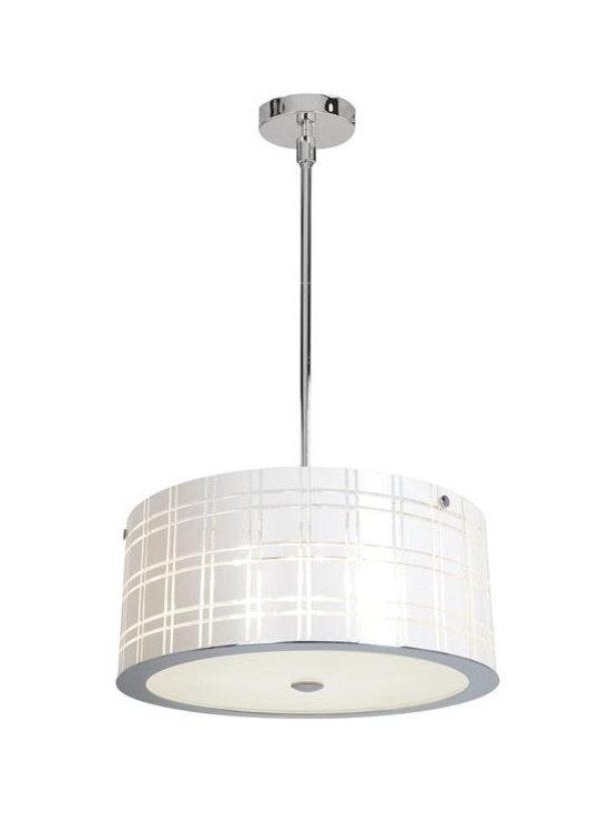 Access Lighting 50976-CH/WH Six Light Chrome Drum Shade Pendant -