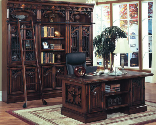 Barcelona Double Pedestal Executive Desk in Antique Walnut finish w/ bookcase - Photo by Parker House, desk @ http://www.dynamichomedecor.com/Parker-House-BAR-480-3.html, call us for pricing on bookcase configuration 866-284-3271