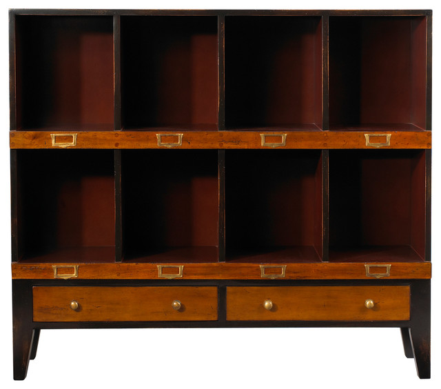 Storage Unit, Black and Red Finish, Black and Red, 8 Cubbyholes traditional-storage-cabinets