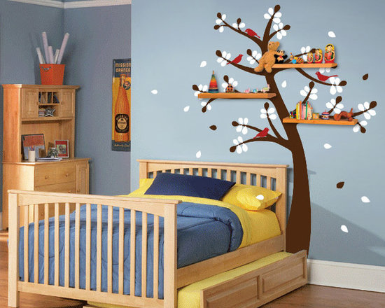 Shelving Tree Decal with Birds - Original design © 2012 Wall Definition.