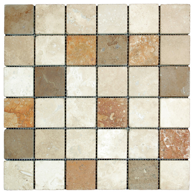 Stonetileus 30 pieces (30 Sq.ft) of Mosaic Mix 2x2 Tumbled contemporary-wall-and-floor-tile