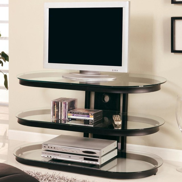 Black Media Console With Glass Shelves Modern