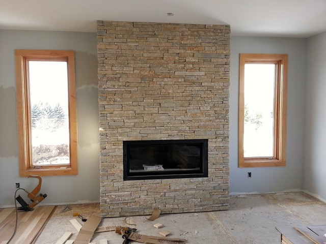Low Height Ledgestone Contemporary Fireplaces Other
