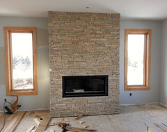 Low-Height Ledgestone contemporary-fireplaces